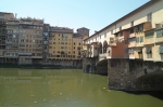 Ponte Vecchio at right, and houses of Florence along the Arno River